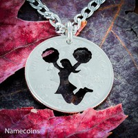 Cheerleading girl necklace, Cheer quarter jewelry, Hand Cut Coin