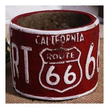 America Vintage 66 Route Car Plate Ashtray Succulent Pot     red