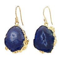 Agate Dangling Earrings - Blue