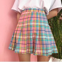 Pastel Plaid Pleated Skirt