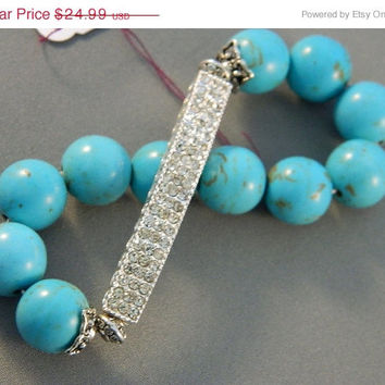 SALE 20% Off Bracelet Silver Rhinestone Band 14mm Howlite Blue Turquoise Beads Stretchable Handcrafted Handmade