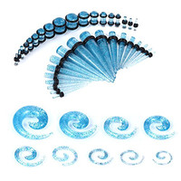 54 Pieces Gauges Kit Aqua Glitter Spiral Tapers and Plugs 14G-00G Stretching Kit - 27 Pairs