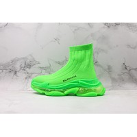 Balenciaga Green Knit Sock Sneakers With Clear Sole