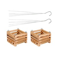 Better-Gro 8 in. Wooden Square Hanging Baskets (2-Pack)-52725 - The Home Depot