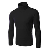Men's Fall Winter High Collar Pullover Solid Color Slim Fit Warm Bottom Shirt