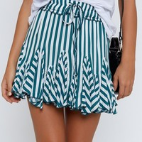 Round Up Skirt Green Stripe
