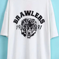 White Short Sleeve BRAWLERS Tiger Print Graphic T-Shirt