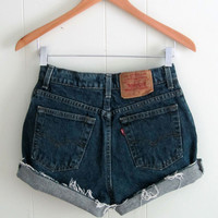 Vintage Dark Wash Levi's High Waisted Cut Off Denim Shorts Mom Jean Cuffed 27""
