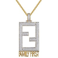 Men's FF Family First Square Dog Tag Hustle Pendant