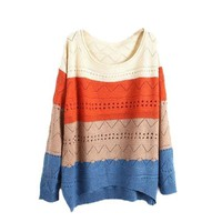 Waltzmart Women's Rainbow Striped Loose Jumper Pullover Hollow Knit Sweater