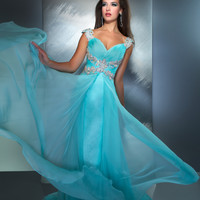 Mac Duggal Prom 2013- Aqua Gown With Silver Straps And Along Waist - Unique Vintage - Prom dresses, retro dresses, retro swimsuits.