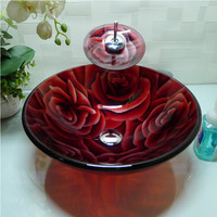 Bathroom Round Tempered Glass Above Counter Wash Basin Cloakroom Counter Top Vessel Sink HX020