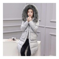 Winter Woman Down Coat Slim Middle Long Thick Fox Fur   grey