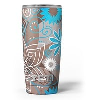 Brown Surface with Blue and White Whymsical Floral Pattern - Skin Decal Vinyl Wrap Kit compatible with the Yeti Rambler Cooler Tumbler Cups