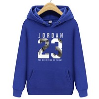 Jordan Autumn And Winter New Fashion Letter People Print Women Men Hooded Long Sleeve Sweater Blue