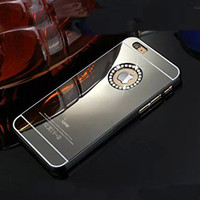 Luxury Gold Black Mirror PC Hard Bling shell Rhinestone Crystal Case Cover  for iPhone 6 plus