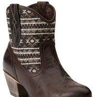 Ariat New West Women's Meadow Barnwood Brown with Mocha Tribal Top Traditional Toe Western Boot