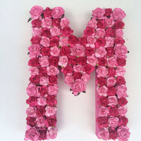 "Custom Floral Letter Monogram Medium 12"" Flower Initial in Your Choice of Colors and Letters on Paper Mâché Base."