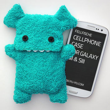 Fluffy Cellphone Case for Samsung Galaxy S2 / S3 - Turquoise with Teeth