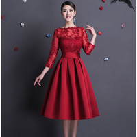 2016 New Elegant Boat Neck Sexy Backless Red Short Evening Dress With Long Sleeves