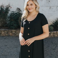 Button Front Knit Dress, Black
