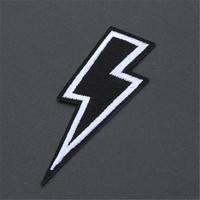 Embroidery Patch 2Pcs Lightning Logo Iron on Patches For Clothing ( t shirt polo clothes bag shoes hat ) Free Shipping