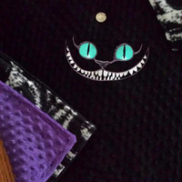 CHESHiRE CaT BABY BLANKeT MiNKY EMBROiDERED HUGE CuSToM DeSiGN PERSONALiZED Matching PILLOWs avail BouTiQUe UniQuE Designs by Sugarbear