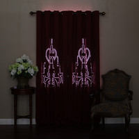 """Burgundy Chandelier Punch Out Blackout Curtains 84"""""""" L- Pair"""
