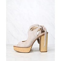 Very Volatile - Rissa Women's Cut Out Ankle Tie Sandal in Blush