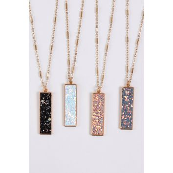 MYN1374 - SEQUIN GLITTER BAR PENDANT NECKLACE