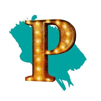 "24"" Letter P Lighted Vintage Marquee Letters (Rustic)"