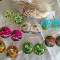 Hand painted shell earrings FREE SHIPPING spring summer colorful earrings original hand painted design excellent Easter Mother's Day gift