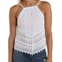 White Crochet-Trim Reverse High-Low Tank Top by Charlotte Russe