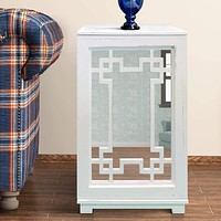 Wooden Side Table with Geometric Mirrored Door Cabinet, White By The Urban Port