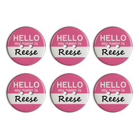 Reese Hello My Name Is Plastic Resin Button Set of 6