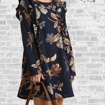 Fall Floral Long Sleeve Dress - Navy - Medium only