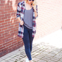 Navy Plaid Flannel Tunic