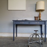 Aged Gray Vintage Writing Desk