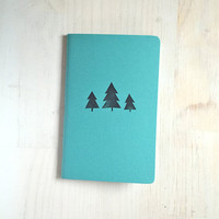 Large Notebook: Stocking Stuffer, Notebook, Trees, Christmas, Blue, Cute Notebook, Journal, For Him, For Her, Unique, Gift, Blank, FFF7