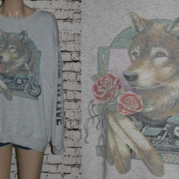 90s Sweatshirt Tshirt Wolf Motorcycle Scooter Distressed Grunge Punk Hipster Hippie Festival Mens Wear 80s Indian Feather T Shirt XL Grey