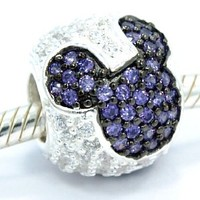 """Pro Jewelry .925 Sterling Silver """"Jeweled Mickey - Purple and Clear Cz"""" Charm Bead for Snake Chain Charm Bracelets"""