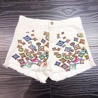 """LOUIS VUITTON""Fashion Casual Irregular Denim Shorts Hot Pants Middle Trousers Jeans"