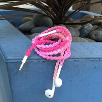 Pretty Ombre - Tangle Free Earbuds - Wrapped Headphones - Your Choice of Headphones