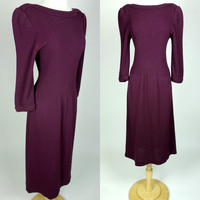 1970s purple sweater dress, knit long sleeve winter wiggle dress, Jean Ingram for Neiman Marcus, Medium, 8