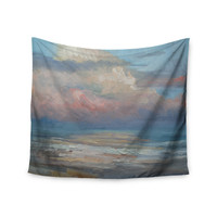 """Carol Schiff """"Pink Clouds"""" Blue Gray Wall Tapestry"""
