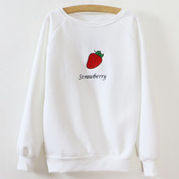 Strawberry Pattern Embroidery Cuff Sleeve Sweatshirt