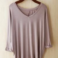 Perfect Drape 3/4 Sleeve Tunic, Taupe (Buttery 96% Modal)