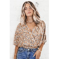 Moved On Taupe Leopard Print Wrap Top