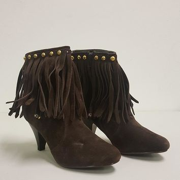 BRECKELLE'S CHER FRINGE BOOTIES - BROWN (SAMPLE)