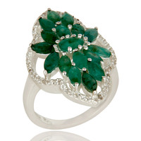 925 Sterling Silver Emerald And White Topaz Gemstone Statement Ring